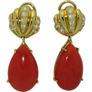 Important 18K Gold, Coral, Diamond Earrings