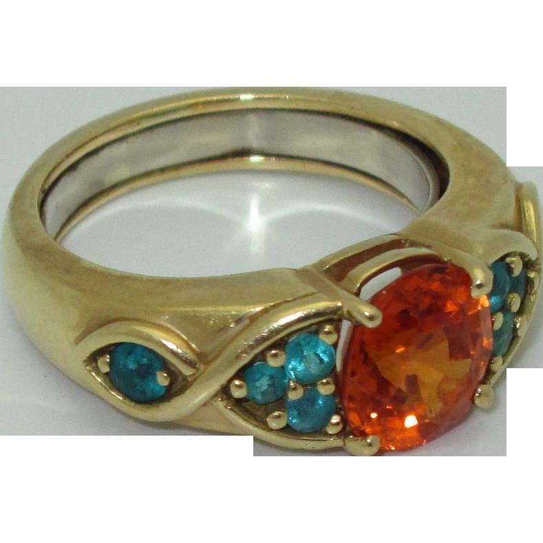 18K Spessartite Garnet and Paraiba Tourmaline Ring