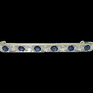 Vintage Marcus Platinum Sapphire Diamond Brooch
