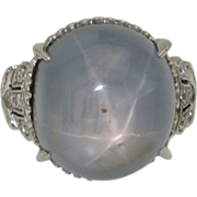 Huge Art Deco Platinum Star Sapphire Ring