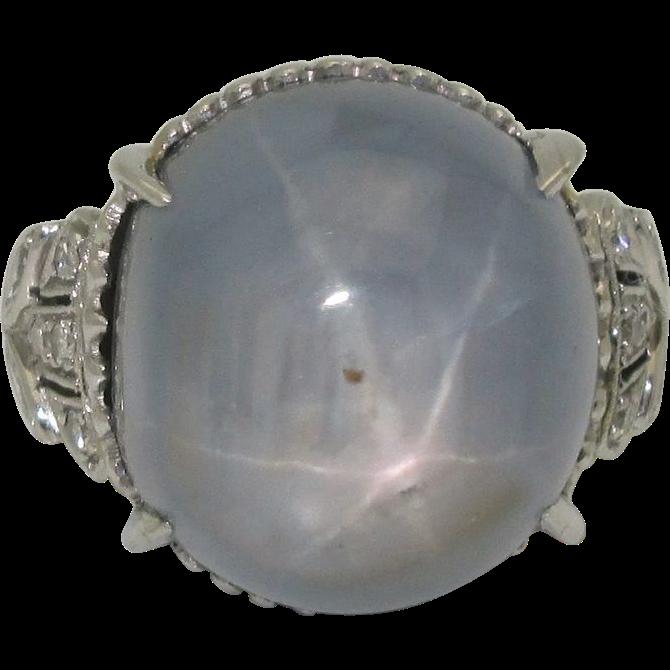 Huge Art Deco Platinum Star Sapphire Ring