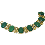 Art Nouveau 14K Green Chalcedony Bracelet