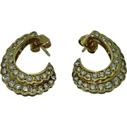 Elegant 14K Gold Diamond Crescent Earrings