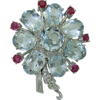 Vintage Platinum Aquamarine, Ruby, Diamond Clip Brooch