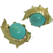 Fabulous Retro 14K Turquoise Earrings
