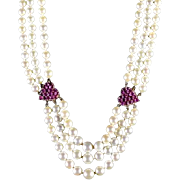 Vintage 14K Ruby Cultured Pearl Necklace