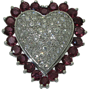 Vintage 14K Ruby Diamond Heart Pin/Pendant