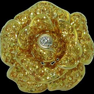 18k Yellow Sapphire Rose Ring