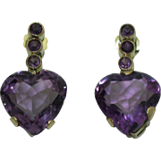 Vintage 14K Amethyst Heart Earrings
