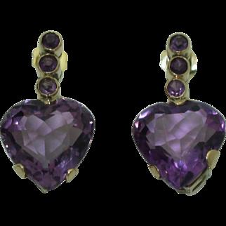 Vintage 14K Amethyst Heart Earrings