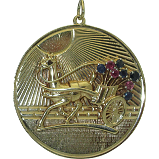 Large Vintage 14K Horse & Cart Charm/Pendant