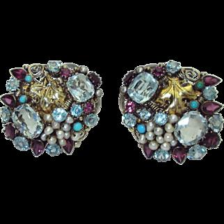 English Arts & Crafts Gemstone Clip Brooches