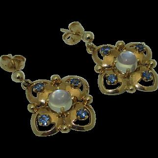 Retro 14K Moonstone, Sapphire Earrings