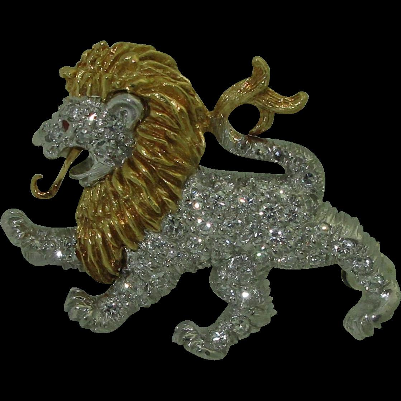 McTeigue & Co. 18K Platinum Diamond Lion Brooch/Pendant