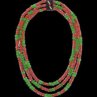Vintage Signed G.T. Marsh 14K Jade & Coral Necklace