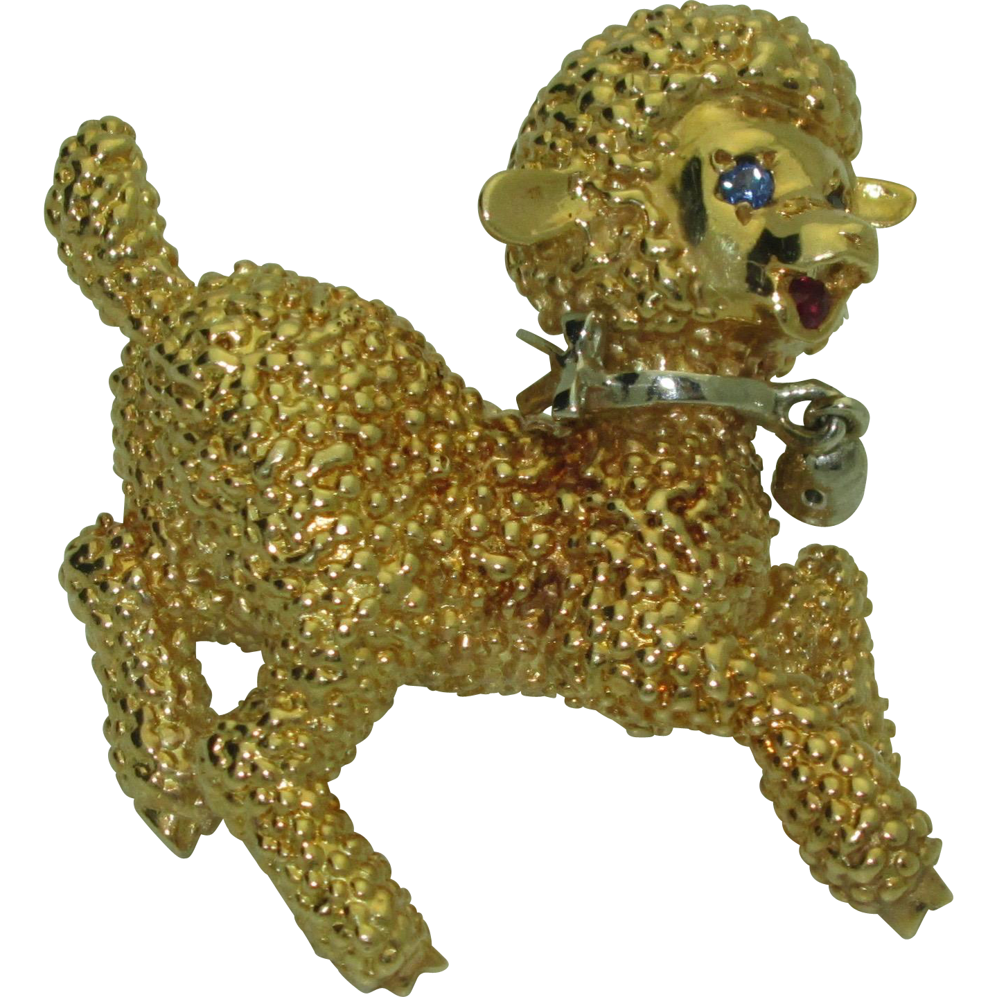 Vintage 18K Woolly Lamb Brooch