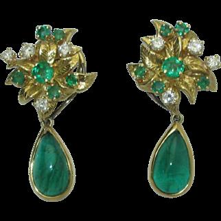 Vintage 18 Julius Cohen Emerald Diamond Earrings