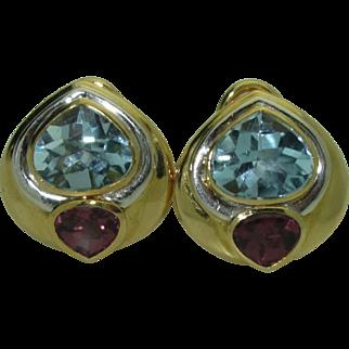 Vintage 18K Aquamarine & Tourmaline Earrings