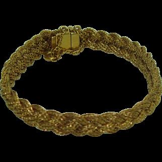 Vintage 19K Signed Portuguese Braided Bracelet