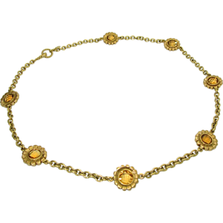 Designer Bielka 18K Citrine Flower Necklace