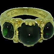 Vintage Signed 18K Tourmaline Marlene Stowe Ring