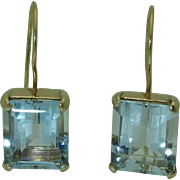 Vintage 14K Aquamarine Earrings