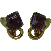 Vintage 14K Amethyst Clip Earrings