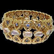 Vintage 14K Moonstone, Montana Sapphire Bracelet