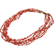 Coral & Crystal 7 Strand Necklace