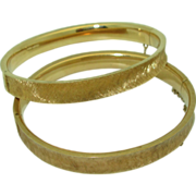 Matched Pair of Vintage Binder Bros. 14K Bangles