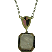 14K Art Deco Rose Quartz Enamel Necklace