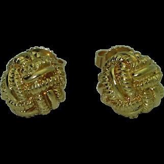 Vintage 18kK Monkey's Fist Knot Earrings
