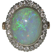 Vintage 14K Opal Diamond Ring