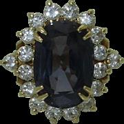 Vintage 18K Certified Purple Spinel Diamond Ring