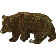 Vintage 18K Naturalistic Bear Brooch with Diamond