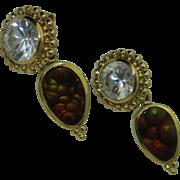 18K Paula Crevoshay Day/Night earrings