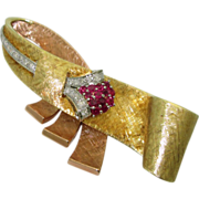 Retro 14 Multicolored Gold Ruby Diamond Brooch