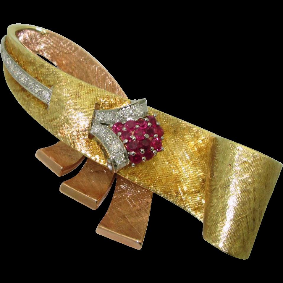 Retro 14 Multicolored Gold Ruby Diamond Brooch