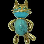 Vintage Cat Brooch 18K Turquoise