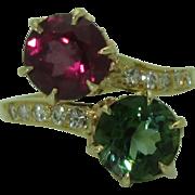 Stunning Vintage 18K Tourmaline Garnet Bypass Ring