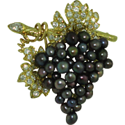 Vintage 18K Julius Cohen Black Pearl Diamond brooch