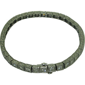 Vintage Diamond Platinum Line Bracelet