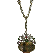 Art Deco 14K Diamond, Demantoid, Ruby Giardinetto Pendant