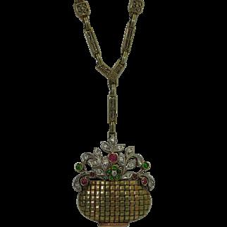 Art Deco 14K Diamond, Demantoid, Ruby Giardinetto Pendant