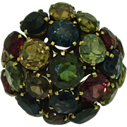 Huge Vintage 14K Multi Gem Ring