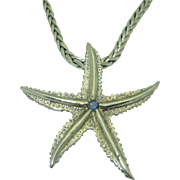 Estate 14K White Gold Star Fish Pendant on 18K Chain