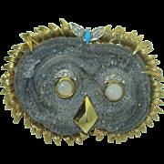 Rare Vintage 18K Druzy Owl Brooch