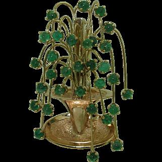 Signed Ruser 14K Emerald Fountain Brooch