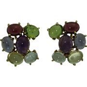 Vintage 14K Retro Multi Gem Earrings