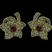 Vintage 18K AGL Ruby Diamond Earrings